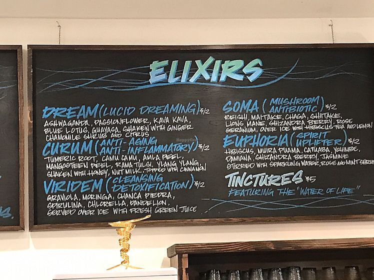"""Photo of The Water Brewery Kitchen + Elixir Bar  by <a href=""""/members/profile/OG_Girl"""">OG_Girl</a> <br/>Elixirs <br/> August 9, 2017  - <a href='/contact/abuse/image/25527/290645'>Report</a>"""