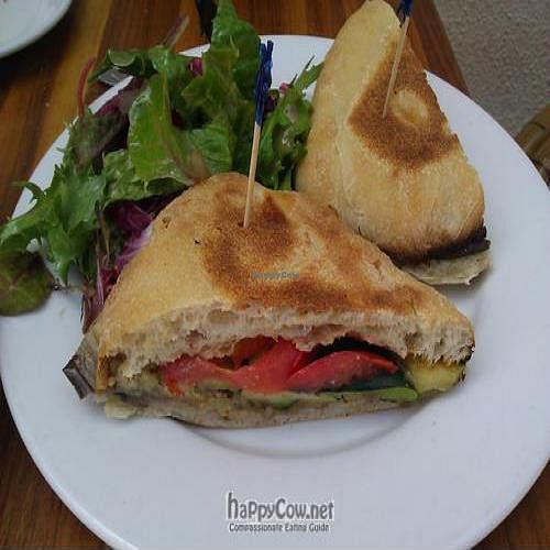 """Photo of Rosti Tuscan Kitchen  by <a href=""""/members/profile/eric"""">eric</a> <br/>vegan grilled vegetable panini sandwich <br/> May 2, 2011  - <a href='/contact/abuse/image/25528/8503'>Report</a>"""