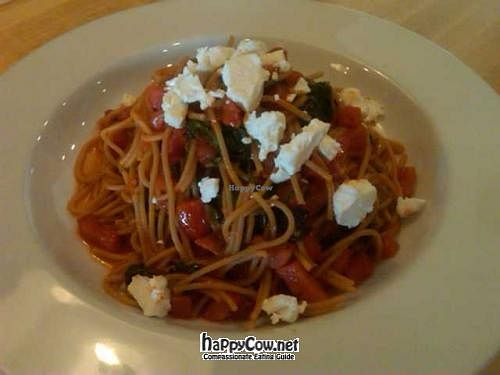 "Photo of CLOSED: Rosti Tuscan Kitchen - Encino  by <a href=""/members/profile/veggiesm"">veggiesm</a> <br/>Whole Wheat Spaghetti  with Spinach Tomatoes and Goat Cheese, make it Vegan by ordering it without Goat Cheese. Also available Gluten Free! <br/> March 7, 2012  - <a href='/contact/abuse/image/25529/29202'>Report</a>"