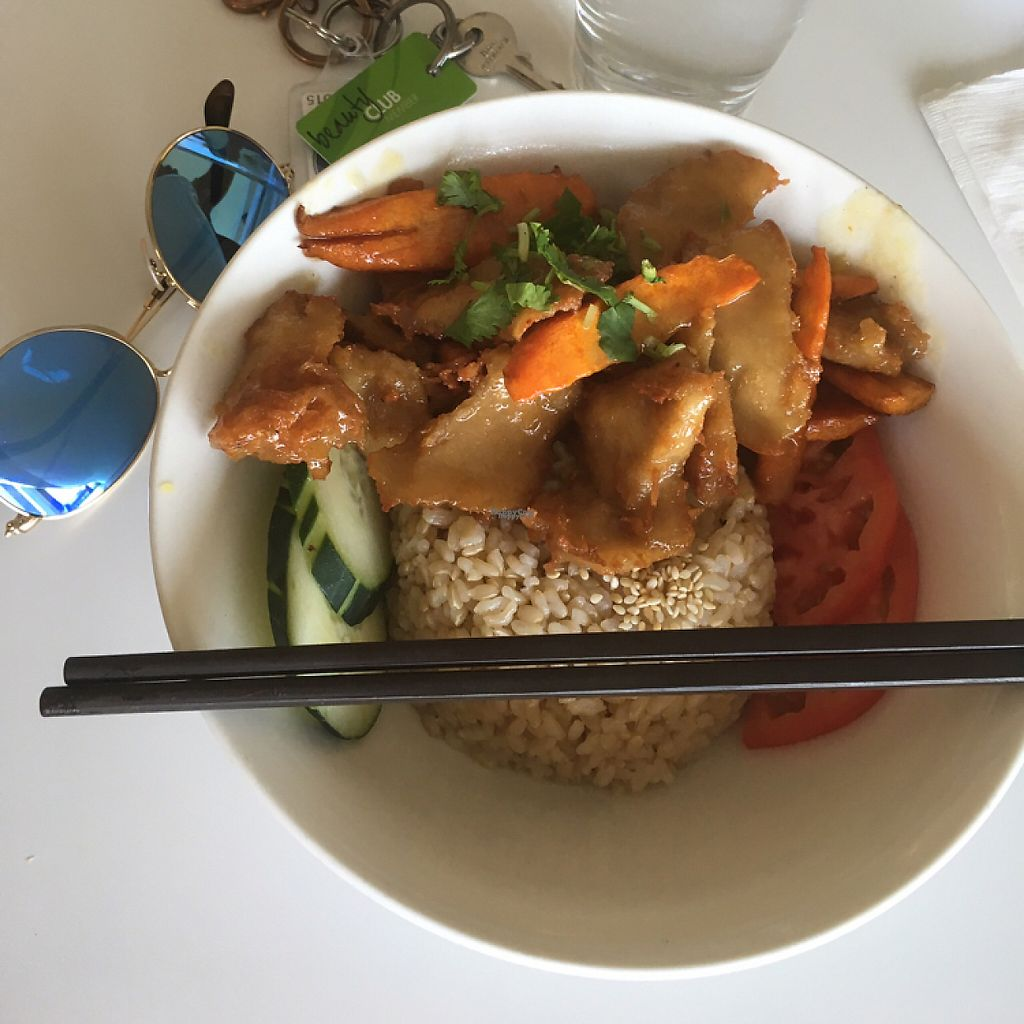 """Photo of Loving Hut - Mira Mesa  by <a href=""""/members/profile/Sallyisme05"""">Sallyisme05</a> <br/>Tangy Orange """"Chicken"""" with Brown Rice <br/> March 20, 2017  - <a href='/contact/abuse/image/25532/238731'>Report</a>"""