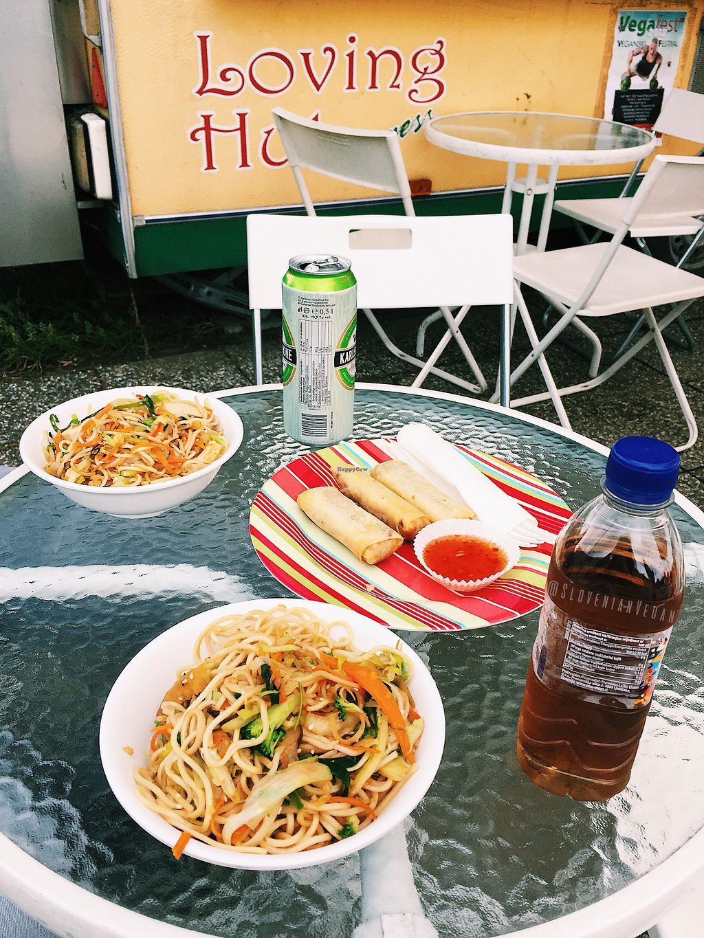 """Photo of Loving Hut Express - Food Cart  by <a href=""""/members/profile/slovenianvegan"""">slovenianvegan</a> <br/>Chow mein and spring rolls <br/> May 16, 2018  - <a href='/contact/abuse/image/25548/400512'>Report</a>"""