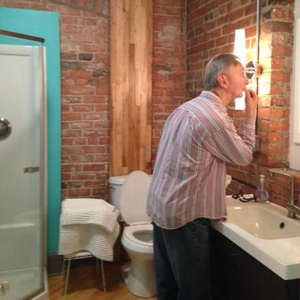 """Photo of PJ's Lager House Detroit  by <a href=""""/members/profile/mars"""">mars</a> <br/>BNB bathroom with Fitz as model <br/> June 19, 2015  - <a href='/contact/abuse/image/25587/204205'>Report</a>"""