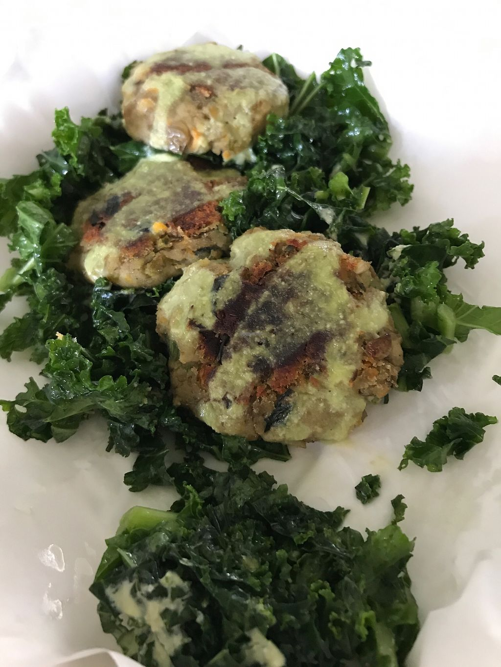 "Photo of El Buho Vegetariano  by <a href=""/members/profile/Longina"">Longina</a> <br/>Zucchini and lentil patties with kale <br/> September 1, 2017  - <a href='/contact/abuse/image/25590/299769'>Report</a>"