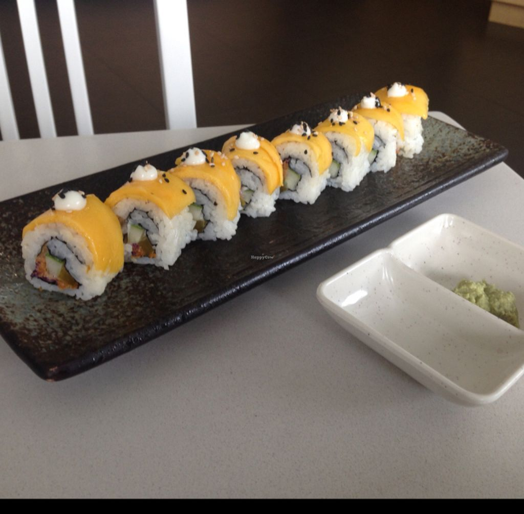 """Photo of EcoLife Kitchen  by <a href=""""/members/profile/AndyT"""">AndyT</a> <br/>Mango Sushi - vegan <br/> August 1, 2015  - <a href='/contact/abuse/image/25633/111809'>Report</a>"""