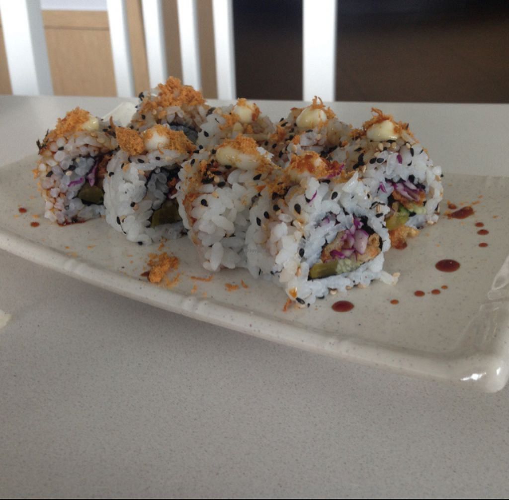 """Photo of EcoLife Kitchen  by <a href=""""/members/profile/AndyT"""">AndyT</a> <br/>Sesame (and fried enoki mushroom) roll - vegan <br/> August 1, 2015  - <a href='/contact/abuse/image/25633/111810'>Report</a>"""