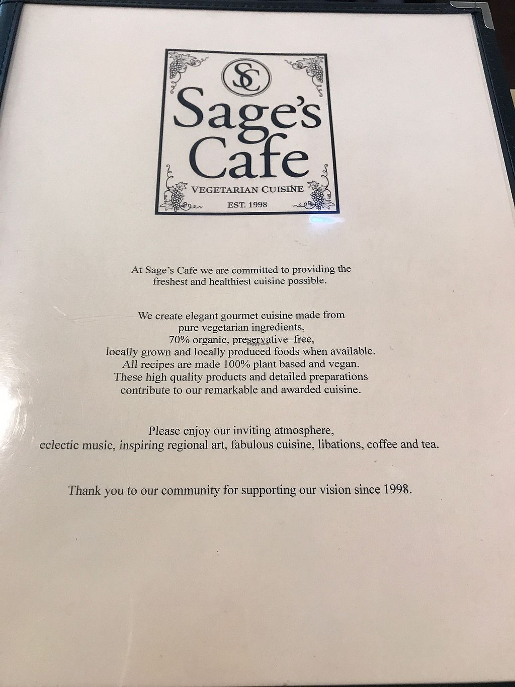 """Photo of Sage's Cafe  by <a href=""""/members/profile/MyGreenTongue"""">MyGreenTongue</a> <br/>front of menu <br/> June 30, 2017  - <a href='/contact/abuse/image/2564/274954'>Report</a>"""