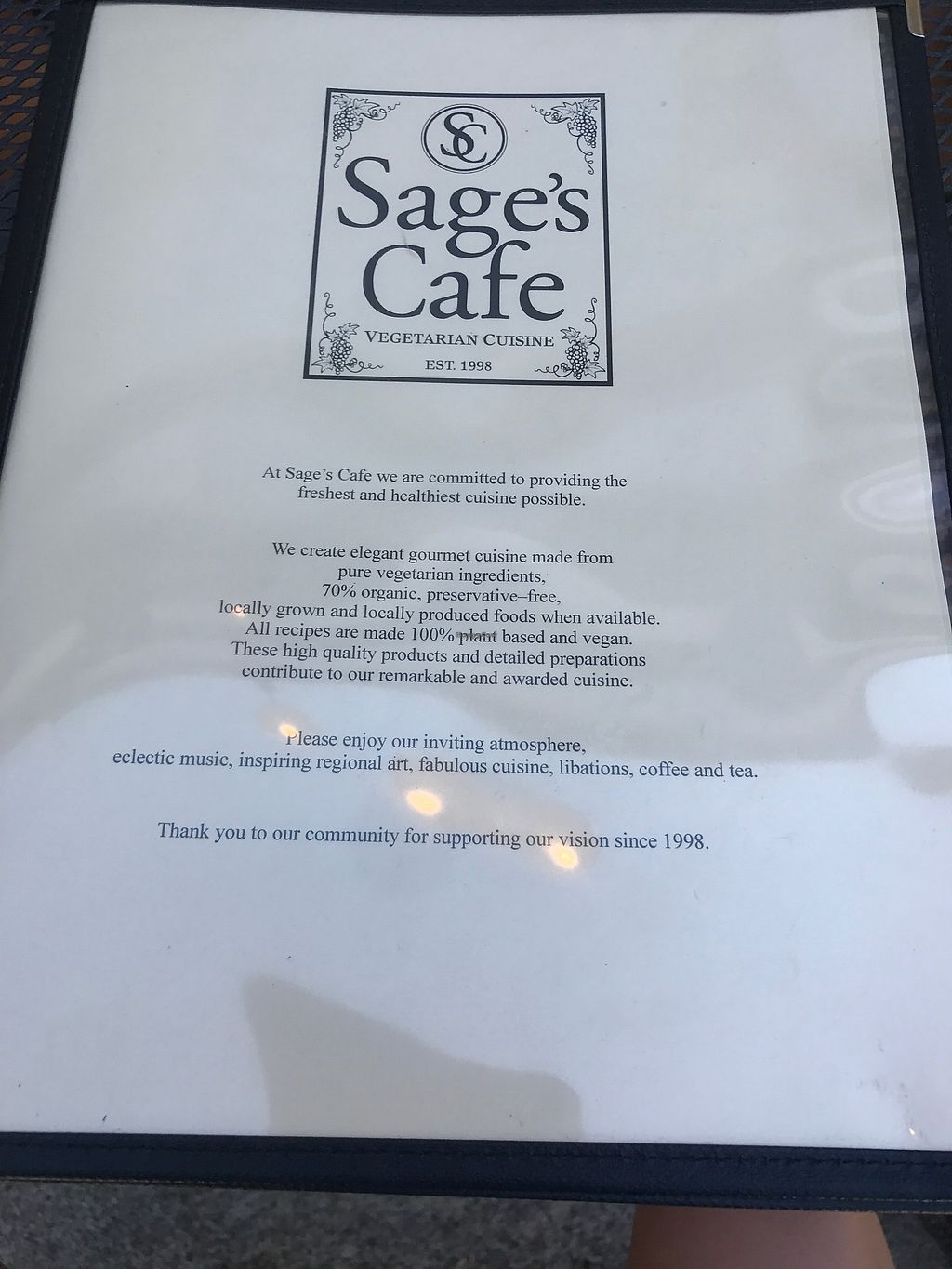 """Photo of Sage's Cafe  by <a href=""""/members/profile/SlaterDouglas"""">SlaterDouglas</a> <br/>Menu cover <br/> July 30, 2017  - <a href='/contact/abuse/image/2564/286518'>Report</a>"""