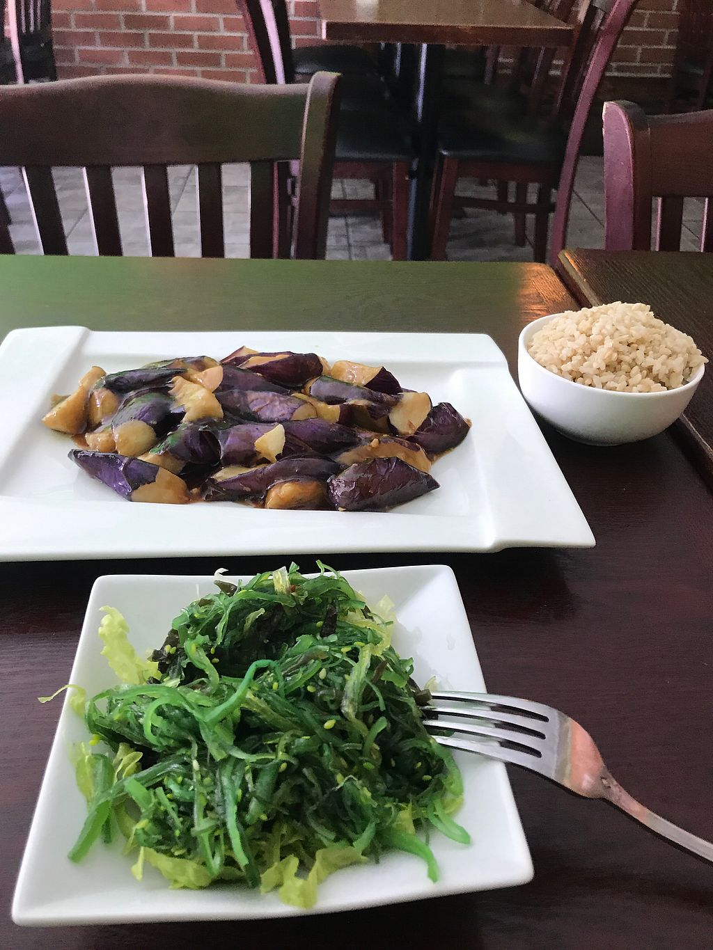 """Photo of CoCo Lin Vegetarian House  by <a href=""""/members/profile/vegan4everr"""">vegan4everr</a> <br/>Seaweed Salad and Eggplant in Garlic ????? <br/> September 14, 2017  - <a href='/contact/abuse/image/25655/304377'>Report</a>"""