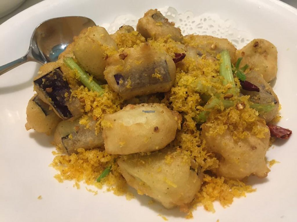 """Photo of Gaia Veggie Shop - Tsuen Wan  by <a href=""""/members/profile/SamanthaIngridHo"""">SamanthaIngridHo</a> <br/>Deep fried eggplant  <br/> December 18, 2016  - <a href='/contact/abuse/image/25698/202615'>Report</a>"""