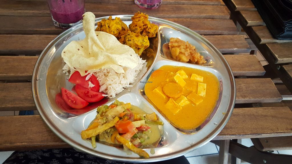 """Photo of Najadacze.pl  by <a href=""""/members/profile/RoseVonVegan"""">RoseVonVegan</a> <br/>Thali! Nice. Could have been spicer, but very nice! <br/> October 16, 2015  - <a href='/contact/abuse/image/25708/121493'>Report</a>"""