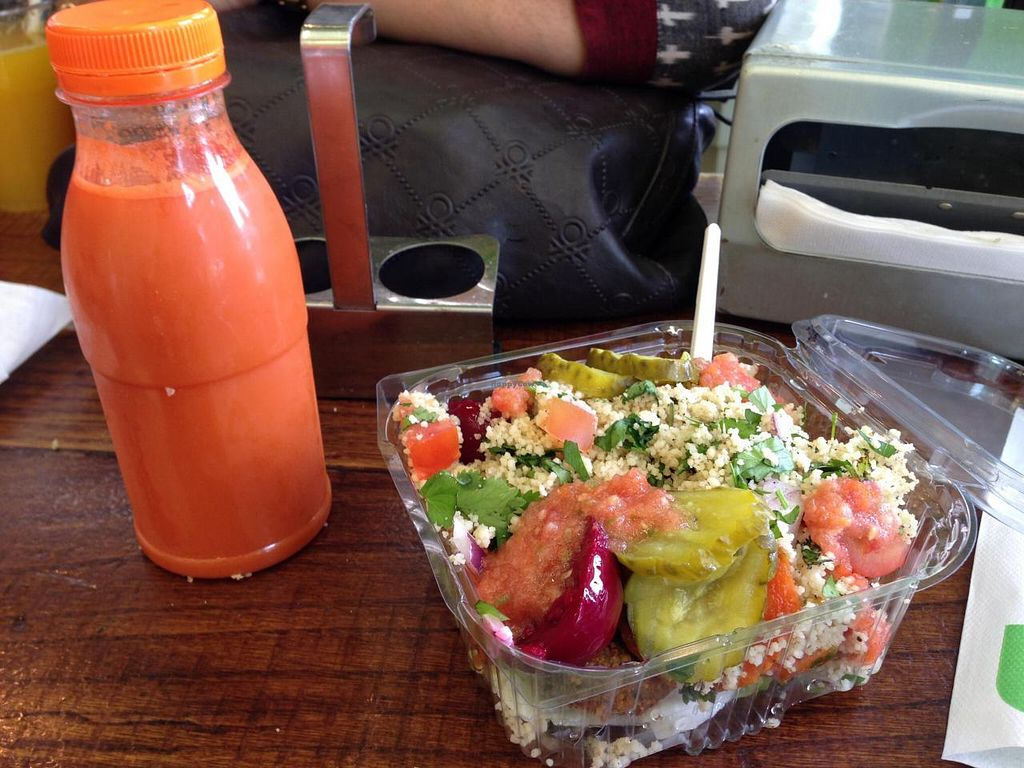 """Photo of Maoz Falafel - Damrak  by <a href=""""/members/profile/Pamina"""">Pamina</a> <br/>Maoz Falafel @ Damrak, Amsterdam - Salad box & carrot juice <br/> August 18, 2014  - <a href='/contact/abuse/image/25723/77397'>Report</a>"""