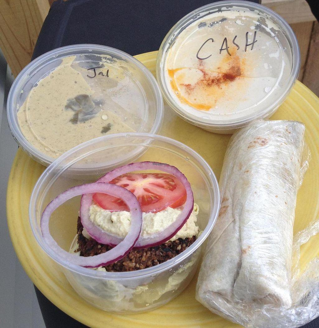 Photo of Vegpod  by RamblingVegans <br/>Raw burger, black bean & quinoa wrap, jalapeño hummus, and cashew hummus.  All vegan!  <br/> August 16, 2014  - <a href='/contact/abuse/image/25731/77155'>Report</a>