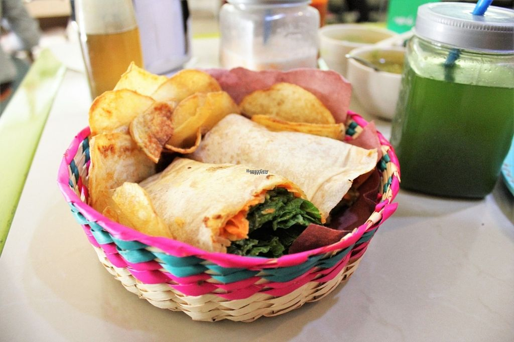 """Photo of Trigo Verde Naturistas Store and Cafe  by <a href=""""/members/profile/charlieontravel"""">charlieontravel</a> <br/>Vegan hummus wrap with crisps <br/> October 29, 2016  - <a href='/contact/abuse/image/25734/185288'>Report</a>"""