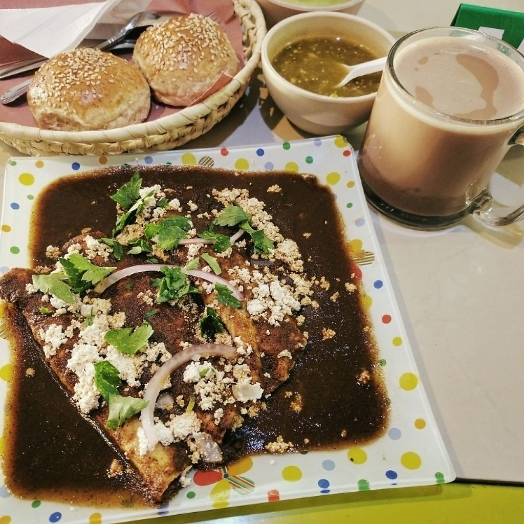 """Photo of Trigo Verde Naturistas Store and Cafe  by <a href=""""/members/profile/swissglobetrotter"""">swissglobetrotter</a> <br/>Enmoladas  with Oaxacan hot chocolate <br/> December 21, 2016  - <a href='/contact/abuse/image/25734/203840'>Report</a>"""