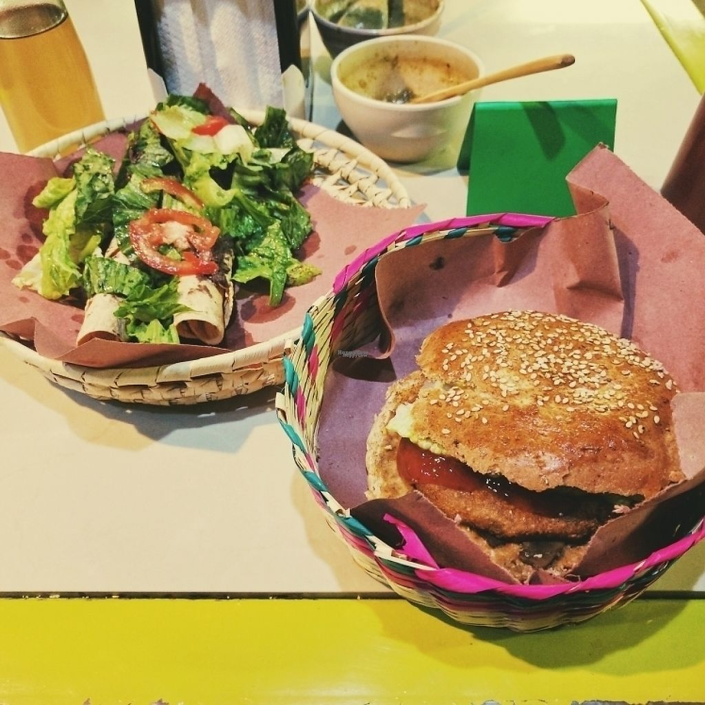 """Photo of Trigo Verde Naturistas Store and Cafe  by <a href=""""/members/profile/swissglobetrotter"""">swissglobetrotter</a> <br/>Vegan Burger and Flautas <br/> December 21, 2016  - <a href='/contact/abuse/image/25734/203841'>Report</a>"""