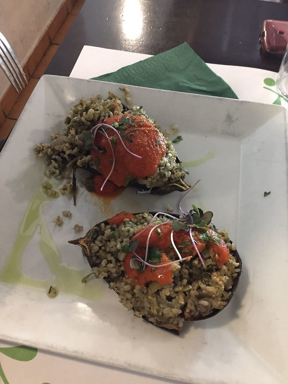 """Photo of Vegetariano El Calafate  by <a href=""""/members/profile/FlokiTheCat"""">FlokiTheCat</a> <br/>Stuffed eggplants <br/> October 6, 2017  - <a href='/contact/abuse/image/25756/312332'>Report</a>"""