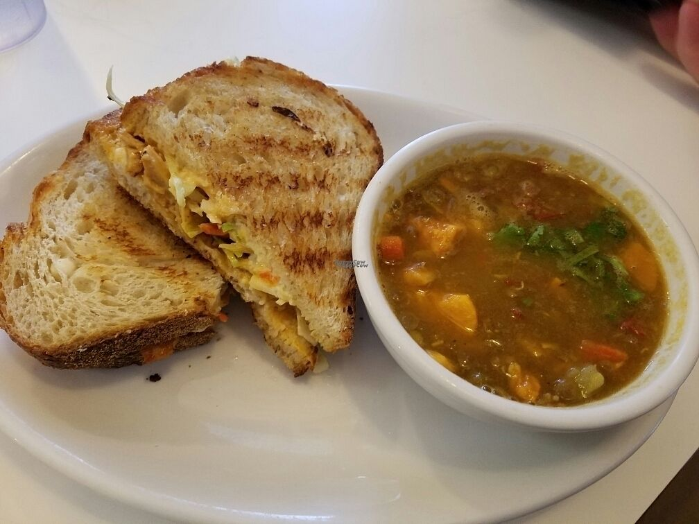 """Photo of Loving Hut - Reynoldsburg  by <a href=""""/members/profile/Silly%20Little%20Vegan"""">Silly Little Vegan</a> <br/>BBQ Panini on sour dough <br/> October 2, 2016  - <a href='/contact/abuse/image/25800/179155'>Report</a>"""