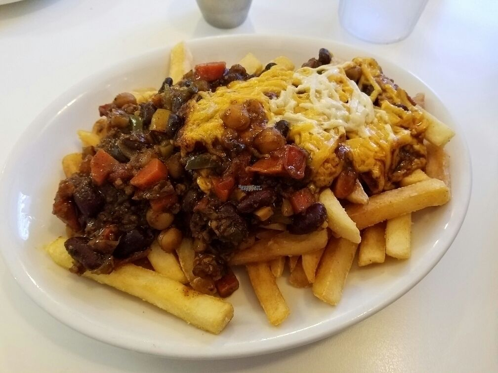 """Photo of Loving Hut - Reynoldsburg  by <a href=""""/members/profile/Silly%20Little%20Vegan"""">Silly Little Vegan</a> <br/>Chili Cheese Fries <br/> October 2, 2016  - <a href='/contact/abuse/image/25800/179157'>Report</a>"""