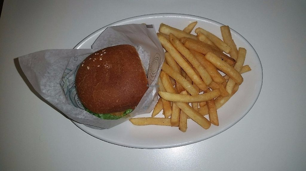 """Photo of Loving Hut - Reynoldsburg  by <a href=""""/members/profile/CorissaMarie"""">CorissaMarie</a> <br/>Fish sandwich with fries  <br/> February 22, 2017  - <a href='/contact/abuse/image/25800/229071'>Report</a>"""