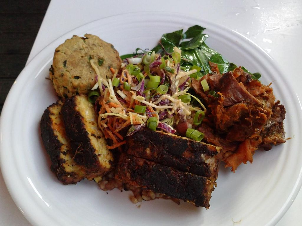 """Photo of Cafe Gratitude - Hollywood  by <a href=""""/members/profile/Sonja%20and%20Dirk"""">Sonja and Dirk</a> <br/>I Am Resolved Southern food plate <br/> June 7, 2015  - <a href='/contact/abuse/image/25808/105054'>Report</a>"""