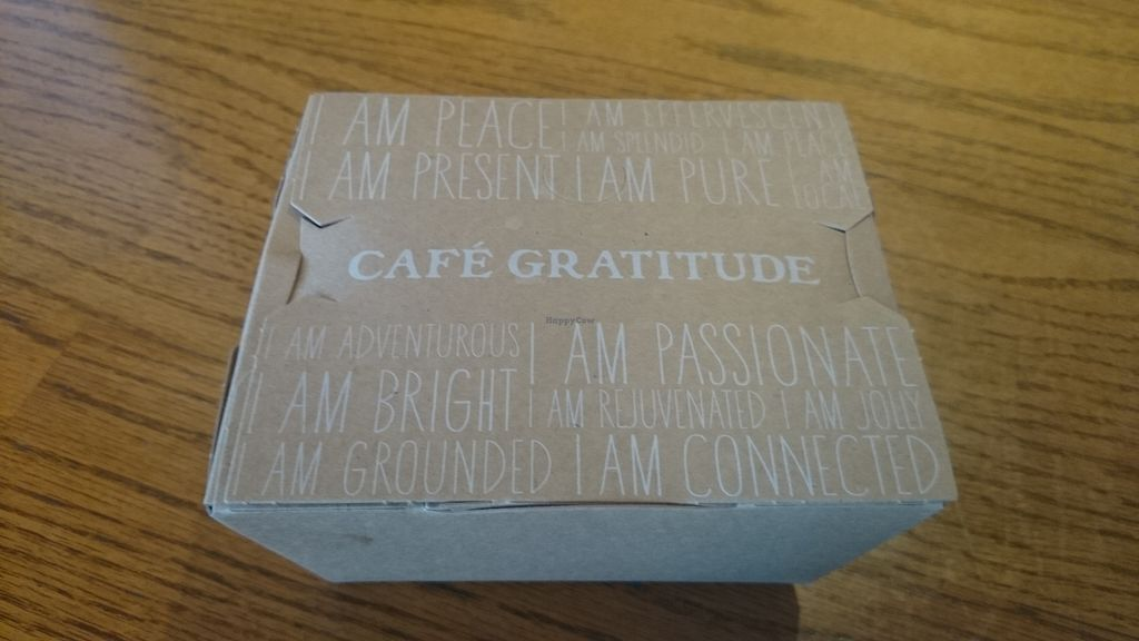 """Photo of Cafe Gratitude - Hollywood  by <a href=""""/members/profile/chb-pbfp"""">chb-pbfp</a> <br/>Take away box <br/> October 30, 2017  - <a href='/contact/abuse/image/25808/320135'>Report</a>"""