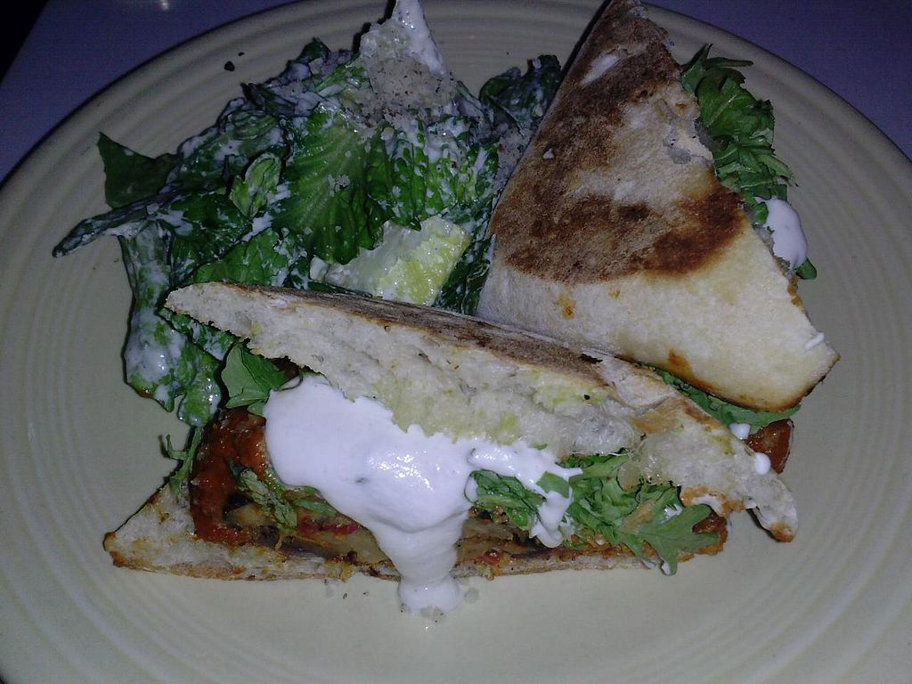 """Photo of Cafe Gratitude - Hollywood  by <a href=""""/members/profile/Sonja%20and%20Dirk"""">Sonja and Dirk</a> <br/>'I Am Awesome' eggplant parmesan panini <br/> November 11, 2014  - <a href='/contact/abuse/image/25808/85226'>Report</a>"""