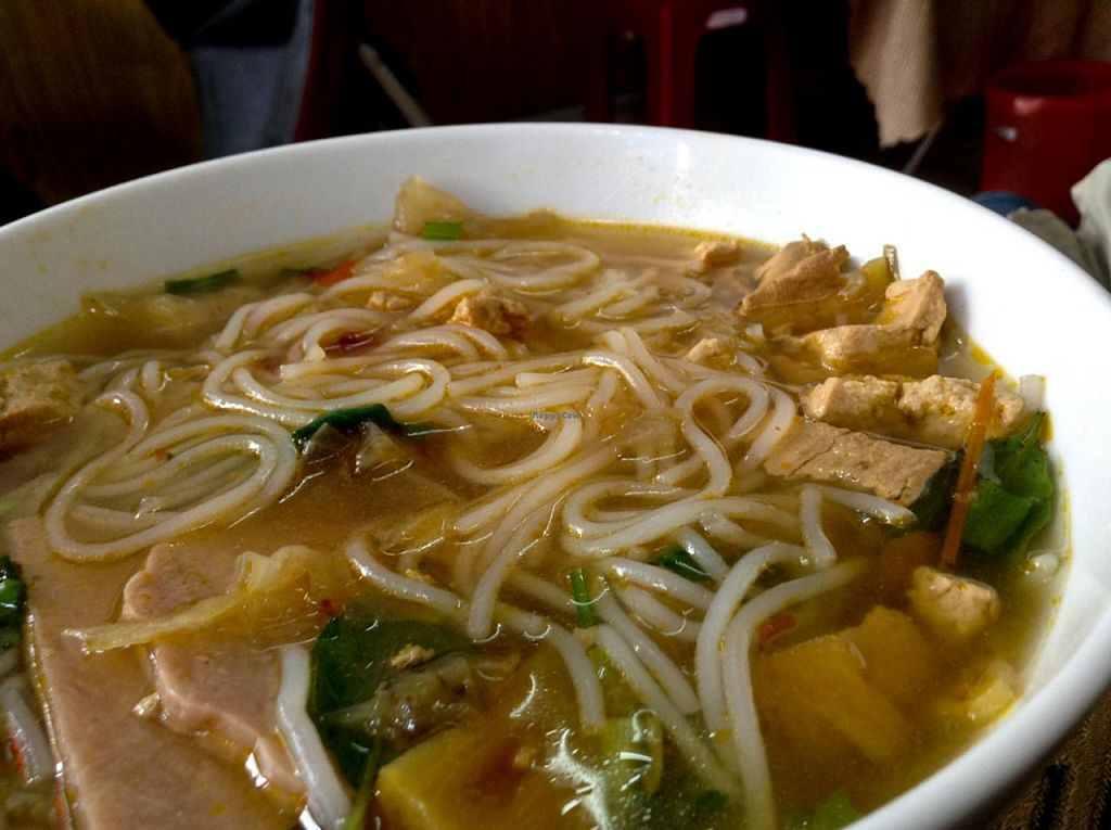 "Photo of Thuy  by <a href=""/members/profile/Ranks42"">Ranks42</a> <br/>Bún Riêu Chay 20,000 VND (A noodle soup with tofu and faux meat.) <br/> July 5, 2014  - <a href='/contact/abuse/image/25830/73288'>Report</a>"