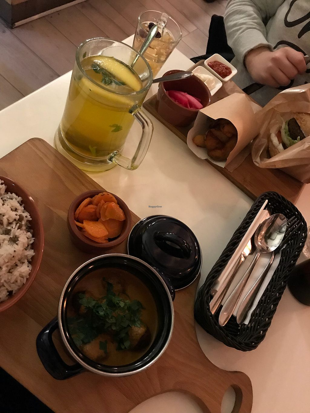 """Photo of Tel Aviv Food & Wine  by <a href=""""/members/profile/ellengdx"""">ellengdx</a> <br/>AMAZING food!! And a whole wide selection of different cuisines. In the background: 'Buddha Burger' - one of the best vegan burgers we have ever tried. The fries and aioli sauce were so delicious I would come back just for them, but the burger was just something else! In the front: 'Kofta' in cumin sauce. Absolutely divine. Needless to say any more!  <br/> January 8, 2018  - <a href='/contact/abuse/image/25838/344449'>Report</a>"""