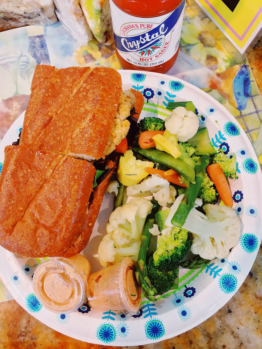 """Photo of Meals From The Heart Cafe  by <a href=""""/members/profile/terrywashere"""">terrywashere</a> <br/>vegan crab cake po boy.  <br/> March 2, 2018  - <a href='/contact/abuse/image/25883/365914'>Report</a>"""