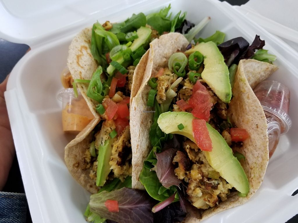"""Photo of Meals From The Heart Cafe  by <a href=""""/members/profile/vegbaker"""">vegbaker</a> <br/>Vegan crab cake tacos <br/> April 17, 2018  - <a href='/contact/abuse/image/25883/387181'>Report</a>"""