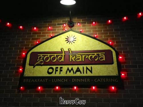 "Photo of Good Karma Restaurant  by <a href=""/members/profile/happycowgirl"">happycowgirl</a> <br/>signage <br/> March 16, 2013  - <a href='/contact/abuse/image/25894/45590'>Report</a>"