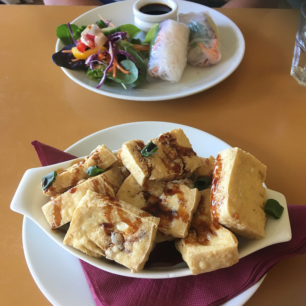"""Photo of Loving Hut  by <a href=""""/members/profile/Scridz"""">Scridz</a> <br/>fried tofu and Vietnamese spring rolls  <br/> November 10, 2017  - <a href='/contact/abuse/image/25897/323769'>Report</a>"""