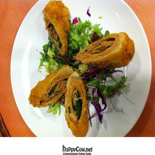 """Photo of CLOSED: Sofa Vegetarian Cafe  by <a href=""""/members/profile/AndreaPassini"""">AndreaPassini</a> <br/>Soy ham rolled with siso leaf and deep fried <br/> February 17, 2012  - <a href='/contact/abuse/image/25928/28493'>Report</a>"""