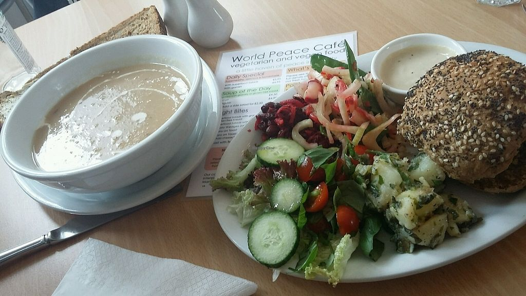 """Photo of World Peace Cafe  by <a href=""""/members/profile/Vegan-Vinyl-Avengers"""">Vegan-Vinyl-Avengers</a> <br/>Vegan soup & burger <br/> October 1, 2017  - <a href='/contact/abuse/image/26026/310497'>Report</a>"""