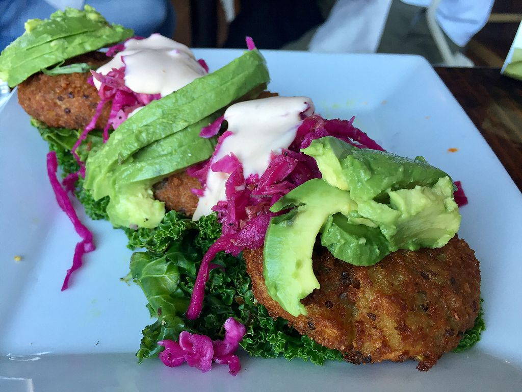 """Photo of Sage Vegan Bistro and KindKreme  by <a href=""""/members/profile/VeganCookieLover"""">VeganCookieLover</a> <br/>Quinoa Corn Cakes <br/> August 30, 2017  - <a href='/contact/abuse/image/26073/299058'>Report</a>"""