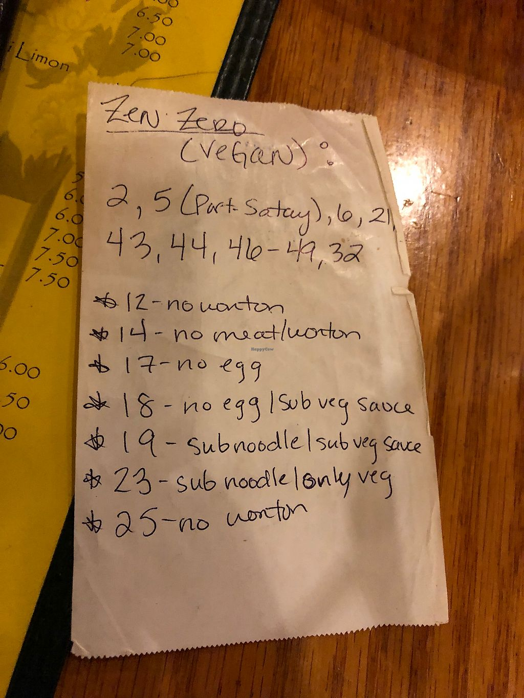 """Photo of Zen Zero  by <a href=""""/members/profile/alexis17"""">alexis17</a> <br/>This is a list from my waitress of the current menu numbers that can be modified to be made vegan (as of feb 2018)  <br/> February 27, 2018  - <a href='/contact/abuse/image/26075/364300'>Report</a>"""