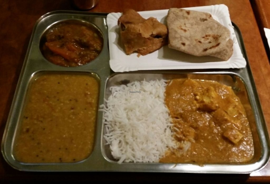 """Photo of Dhaba Beas - Vladislavova  by <a href=""""/members/profile/becky8ball"""">becky8ball</a> <br/>Clockwise from bottom right - masala paneer and rice, dhal, mixed veggie curry, samosa and chapatti <br/> May 27, 2016  - <a href='/contact/abuse/image/26091/236394'>Report</a>"""