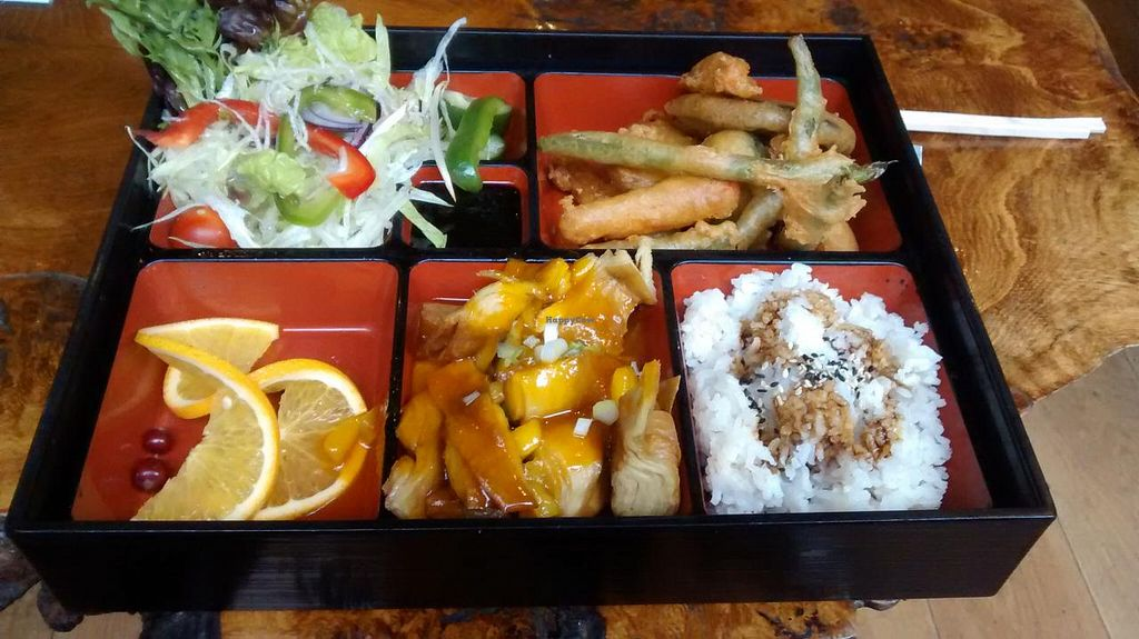 """Photo of Little Tokyo  by <a href=""""/members/profile/JonJon"""">JonJon</a> <br/>Vegan bento box: vegan duck with a mango sauce, rice, vegetable fritters, green salad, fruits <br/> September 22, 2014  - <a href='/contact/abuse/image/26094/80730'>Report</a>"""