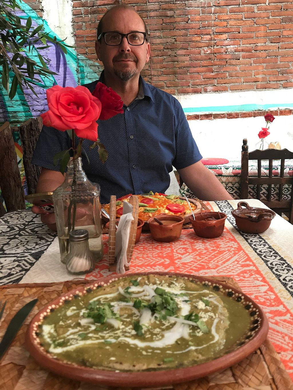 """Photo of Koatlikue Pachamama  by <a href=""""/members/profile/Serenamuse"""">Serenamuse</a> <br/>Enchiladas Verdes. Made with corn tortillas (wonderful fresh made) filled with refried beans, topped with amazing fairly mild green enchilada sauce. Can ask to hold the creama (a sprinkling of sour cream on top).  <br/> July 24, 2017  - <a href='/contact/abuse/image/26158/284397'>Report</a>"""