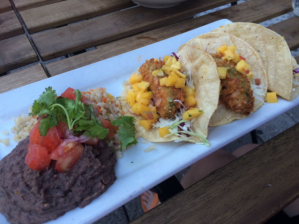 """Photo of Rise Above Restaurant and Bakery  by <a href=""""/members/profile/fruitiJulie"""">fruitiJulie</a> <br/>Coconut Avocado Tacos <br/> August 2, 2017  - <a href='/contact/abuse/image/26245/287837'>Report</a>"""