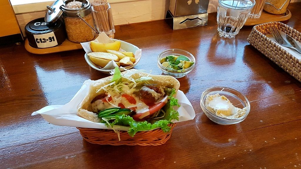 """Photo of Falafel Garden  by <a href=""""/members/profile/aggiem"""">aggiem</a> <br/>Pita falafel with potato wedges, hummus and avocado on the side <br/> September 9, 2017  - <a href='/contact/abuse/image/26257/302468'>Report</a>"""