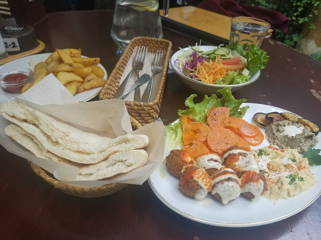 """Photo of Falafel Garden  by <a href=""""/members/profile/ReiAmber"""">ReiAmber</a> <br/>falafel plate and fries <br/> May 8, 2018  - <a href='/contact/abuse/image/26257/396923'>Report</a>"""
