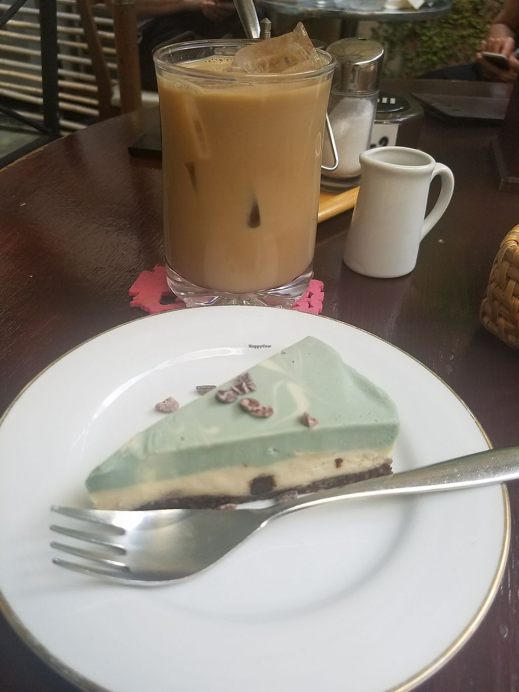 """Photo of Falafel Garden  by <a href=""""/members/profile/ReiAmber"""">ReiAmber</a> <br/>iced coffee with soymilk and mint chocolate raw cake  <br/> May 8, 2018  - <a href='/contact/abuse/image/26257/396924'>Report</a>"""