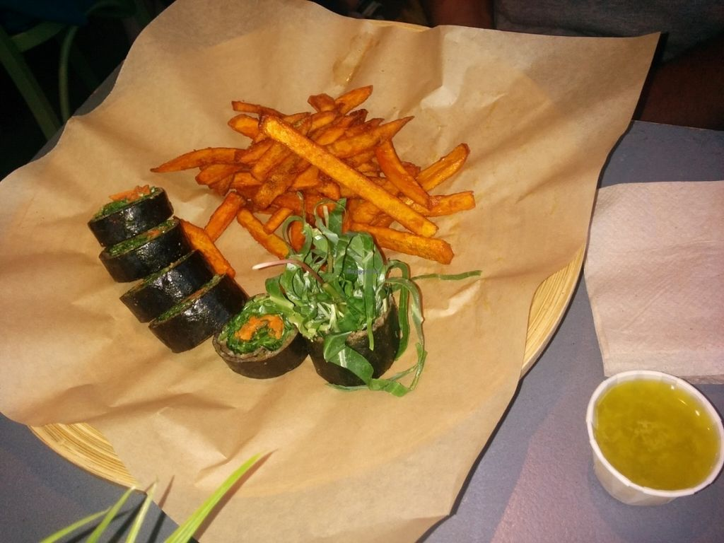 "Photo of Green Seed Vegan  by <a href=""/members/profile/MizzB"">MizzB</a> <br/>Delicious nori rolls with a side of crisp, seasoned sweet potato fries <br/> July 27, 2016  - <a href='/contact/abuse/image/26265/162790'>Report</a>"