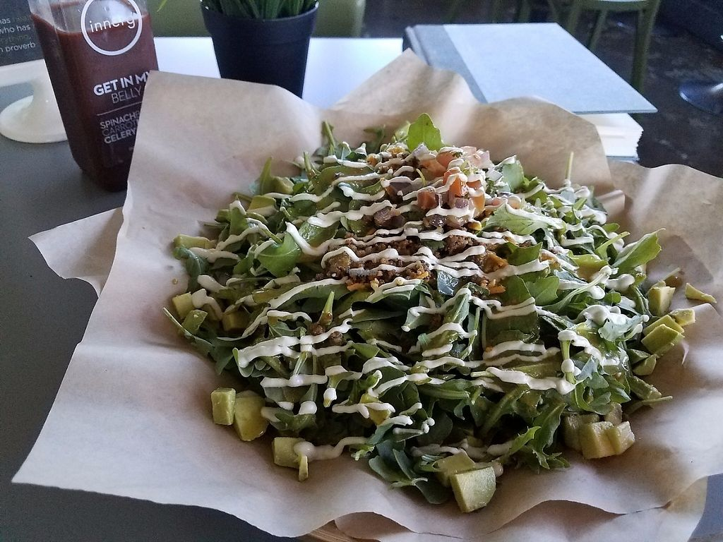 "Photo of Green Seed Vegan  by <a href=""/members/profile/fondducoeur"">fondducoeur</a> <br/>Notyo Salad with raw sunflower chorizo and cashew cream. Get In my Belly fresh juice <br/> April 6, 2017  - <a href='/contact/abuse/image/26265/245095'>Report</a>"
