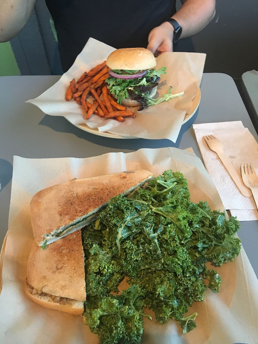 "Photo of Green Seed Vegan  by <a href=""/members/profile/MichelaGiordano"">MichelaGiordano</a> <br/>the big Tex burger in the back and the tosh panino with Jake salad in the front  <br/> August 6, 2017  - <a href='/contact/abuse/image/26265/289498'>Report</a>"
