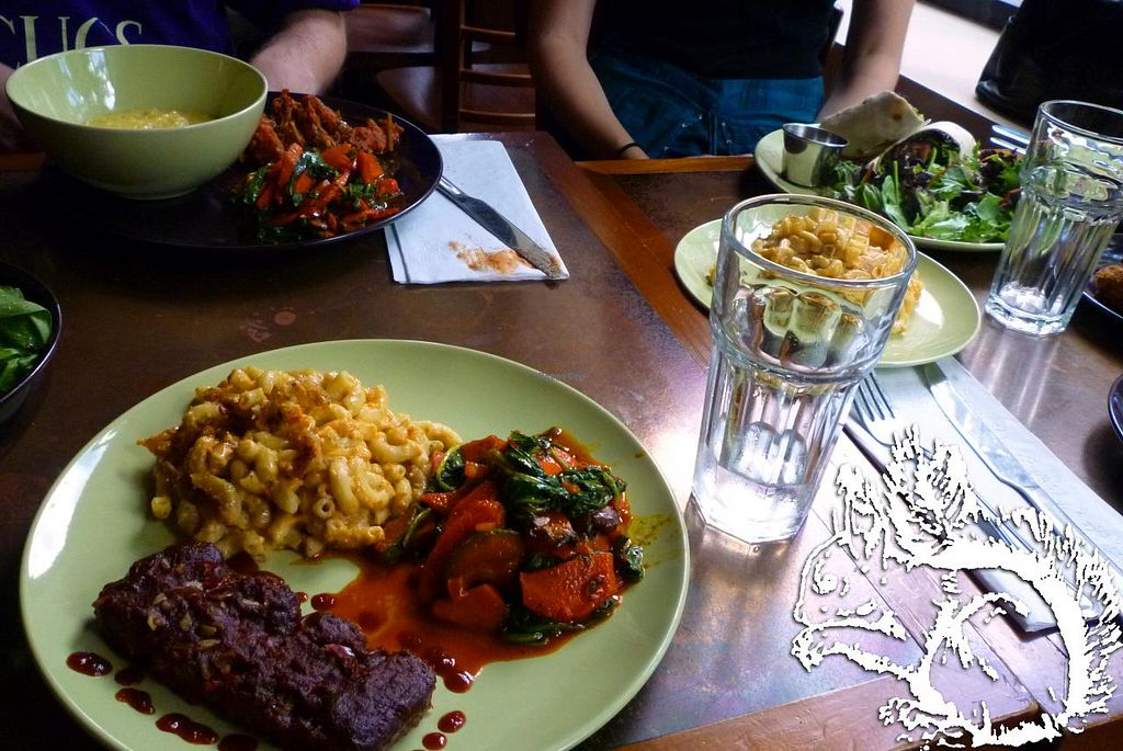 "Photo of Seasoned Vegan  by <a href=""/members/profile/SquirrelofNOM"">SquirrelofNOM</a> <br/>BBQ Ribs, Mac'n'Cheese, Veggie Medley. Came with a side salad. 