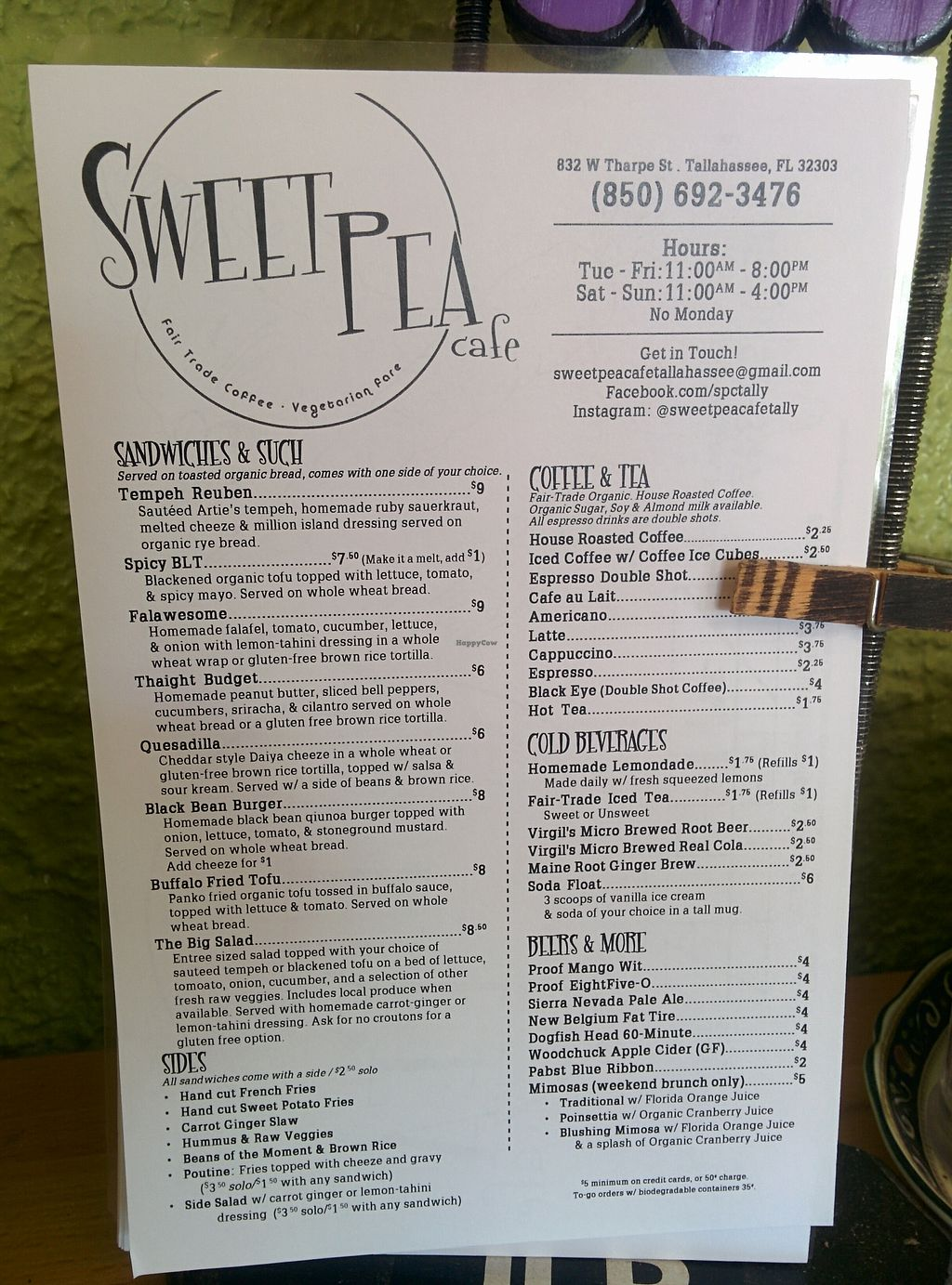 "Photo of Sweet Pea Cafe  by <a href=""/members/profile/MizzB"">MizzB</a> <br/>Menu <br/> November 13, 2017  - <a href='/contact/abuse/image/26274/325247'>Report</a>"