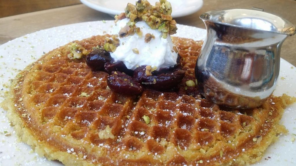 "Photo of Cafe Flora  by <a href=""/members/profile/The%20Hungry%20Vegan"">The Hungry Vegan</a> <br/>Cherry Pistachio Waffle <br/> June 13, 2015  - <a href='/contact/abuse/image/2628/105846'>Report</a>"
