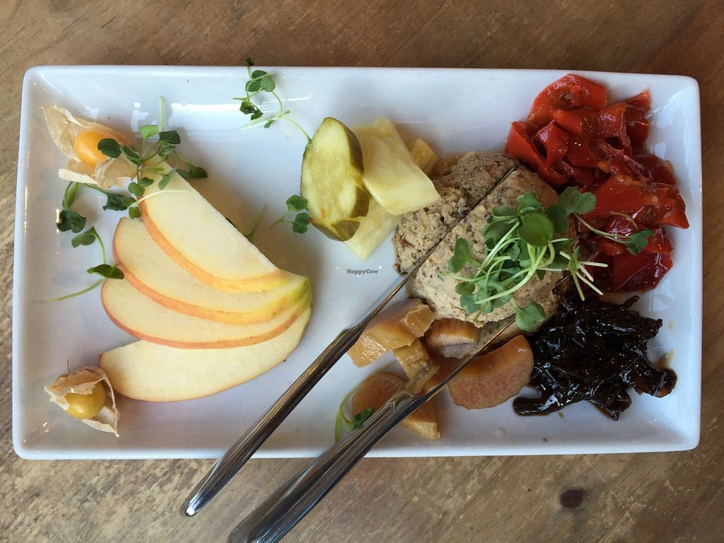 "Photo of Cafe Flora  by <a href=""/members/profile/clovely.vegan"">clovely.vegan</a> <br/>Paté Platter: Lentil-pecan paté, red onion confit, house made pickles, croccantini, fresh fruit <br/> October 22, 2015  - <a href='/contact/abuse/image/2628/122143'>Report</a>"